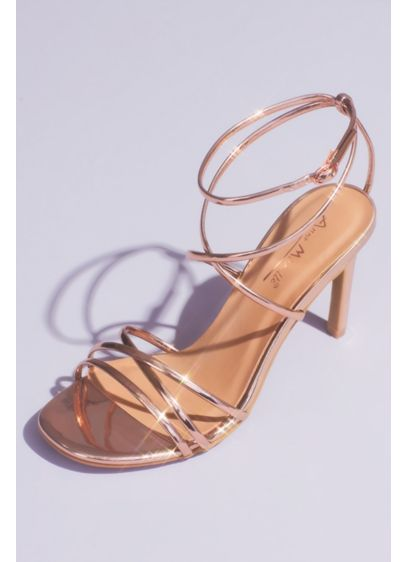 Chrome Metallic Heeled Sandals with Skinny Straps - Add high fashion to your special occasion look